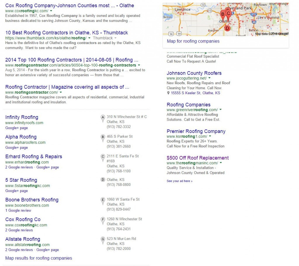 Google Local Search Results May 2015 Roofing Companies